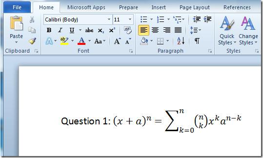 فرمول نویسی در word