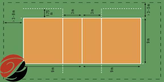 اندازه زمین والیبال
